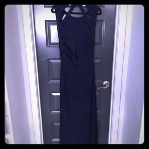 Navy Blue, open back Evening Gown